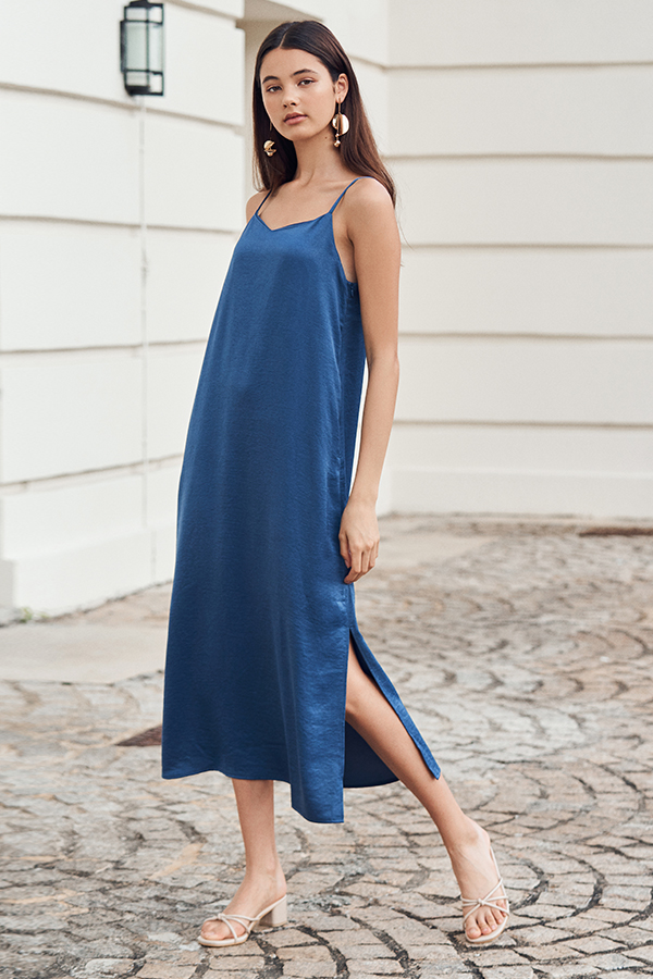 Mckayla Slip Midi Dress in Blue