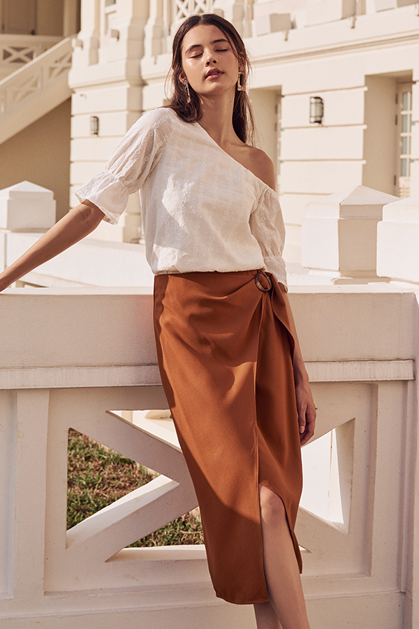 Adaira Wrap Midi Skirt in Burnt Orange