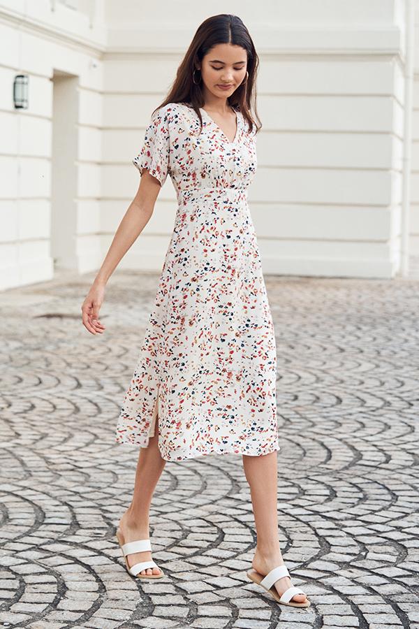 Quinn Terrazzo Printed Midi Dress