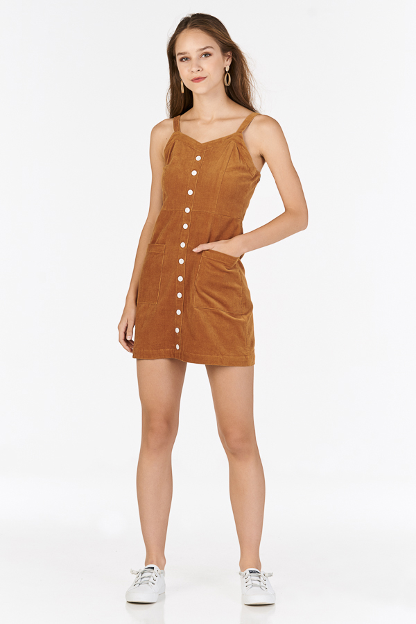 Nola Corduroy Dress in Camel