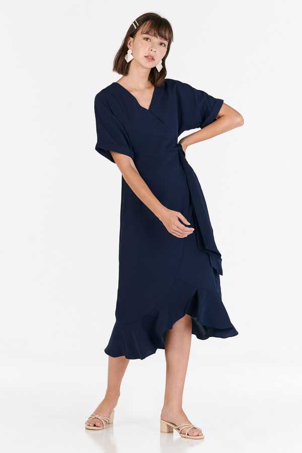 Lucerne Ruffled Midi Dress in Navy