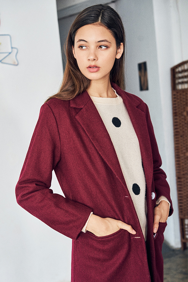 Piccadilly Wool Coat in Maroon