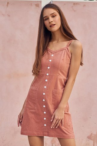Nola Corduroy Dress in Pink