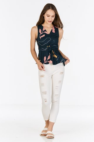 Olinda Abstract Printed Buckle Top in Forest