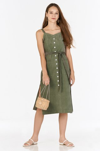 Nola Corduroy Midi Dress in Olive
