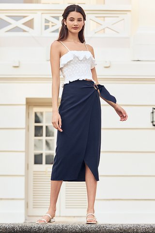 Adaira Wrap Midi Skirt in Navy