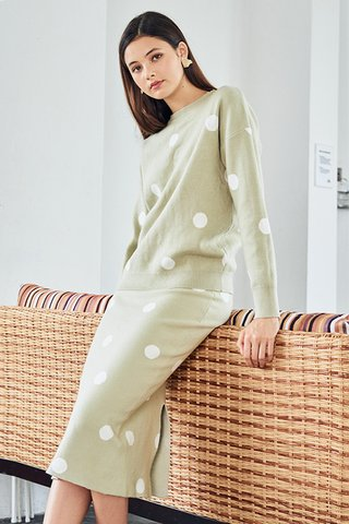 Aiyana Dotted Knitted Pullover in Sage