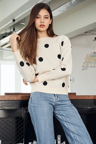 Aiyana Dotted Knitted Pullover in Cream