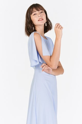 Lynette Flutter Sleeved Dress in Blue