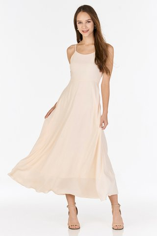 Cariella Slit Back Dress in Cream
