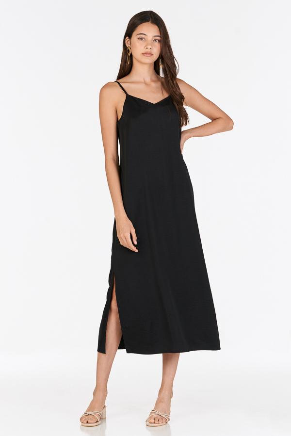 Mckayla Slip Midi Dress in Black