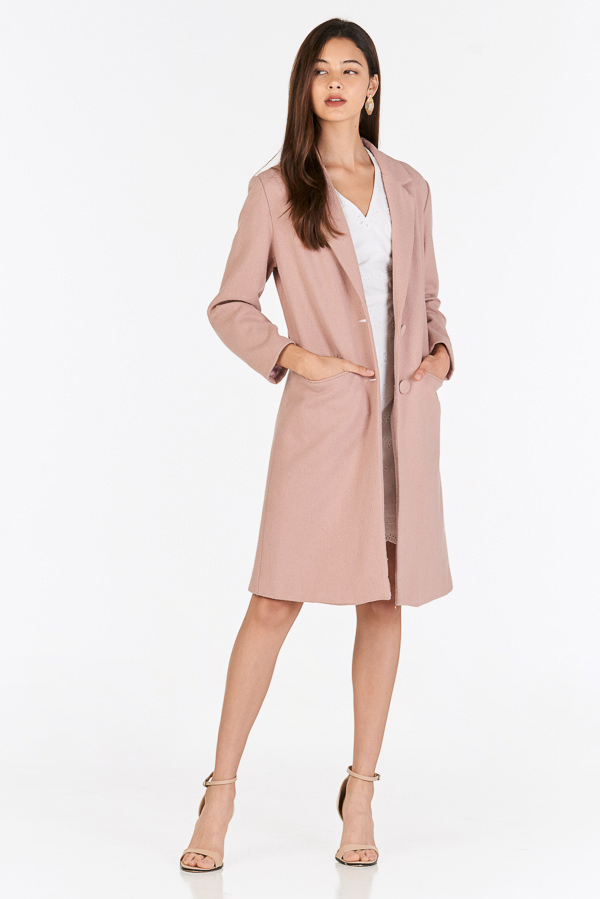 Piccadilly Wool Coat in Dusty Pink