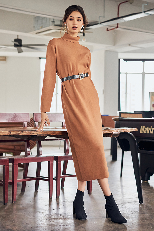 Brooke Turtleneck Midi Dress in Camel
