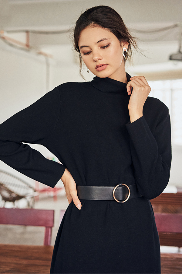 Brooke Turtleneck Midi Dress in Black