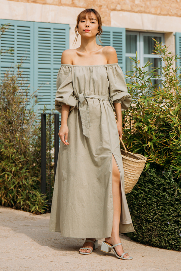 Mireia Off Shoulder Dress in Sage