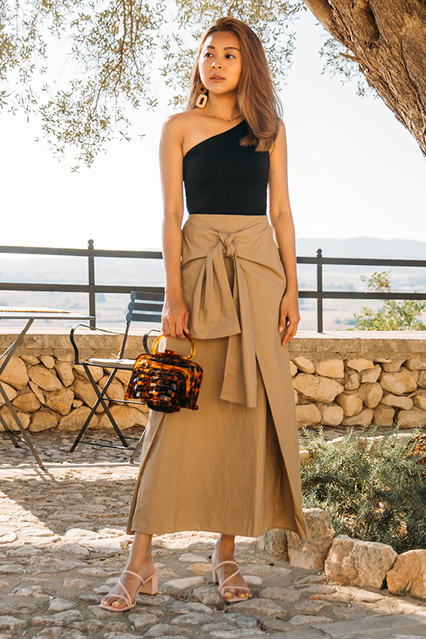 Imelda Knotted Bow Skirt in Warm Taupe