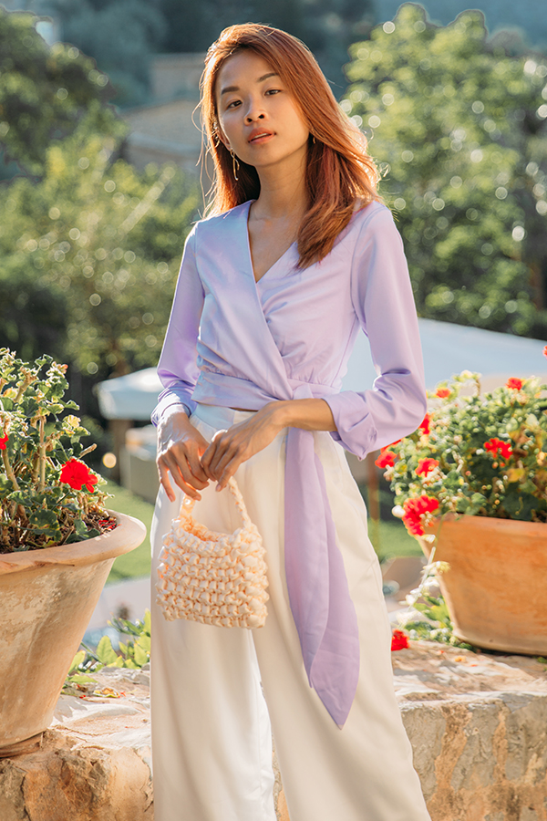 Elodia Satin Wrapped Top in Lilac