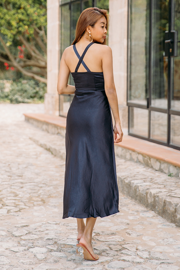 Lucia Satin Dress in Navy