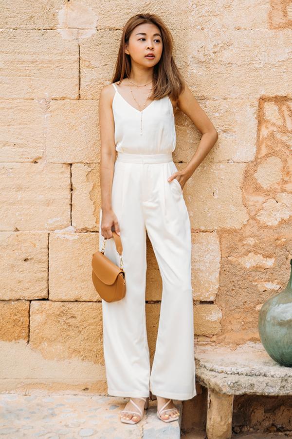 Elodia Satin Pants in Cream