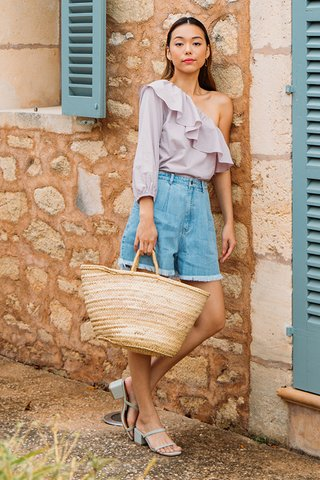 Benita Frayed Denim Shorts in Light Wash