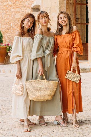 Mireia Off Shoulder Dress in Rust
