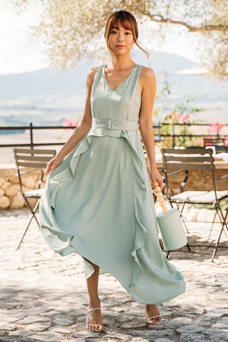 Flores Ruffled Dress in Willow Green