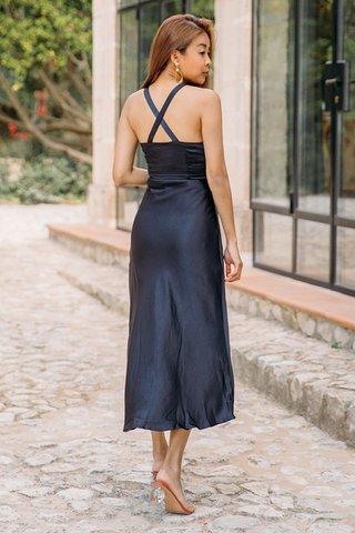 Lucia Satin Dress in Navy