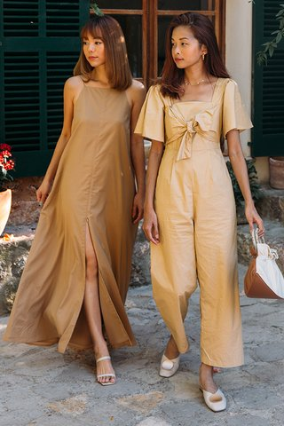 Marcela Knotted Bow Jumpsuit in Camel