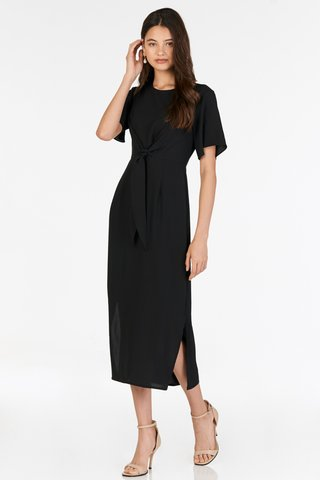Roseanne Tie Front Midi Dress in Black