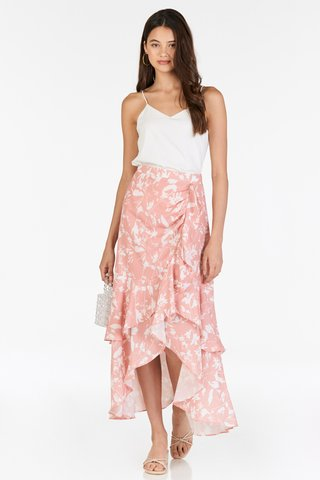 Ashlea Foliage Printed Ruffled Midi Skirt in Pink