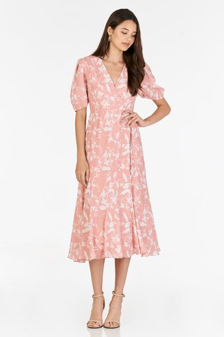 Ashlea Foliage Printed Midi Dress in Pink
