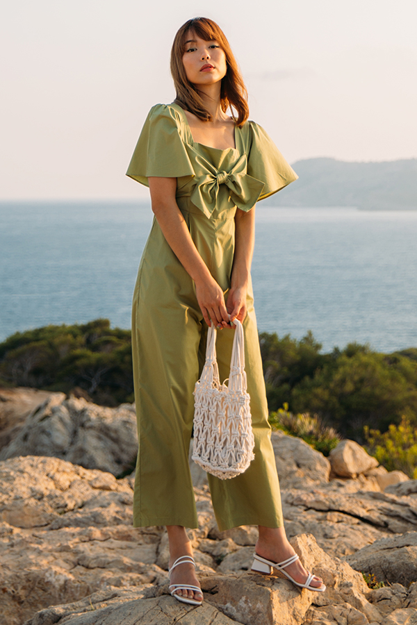 *Backorder* Marcela Knotted Bow Jumpsuit in Apple Green