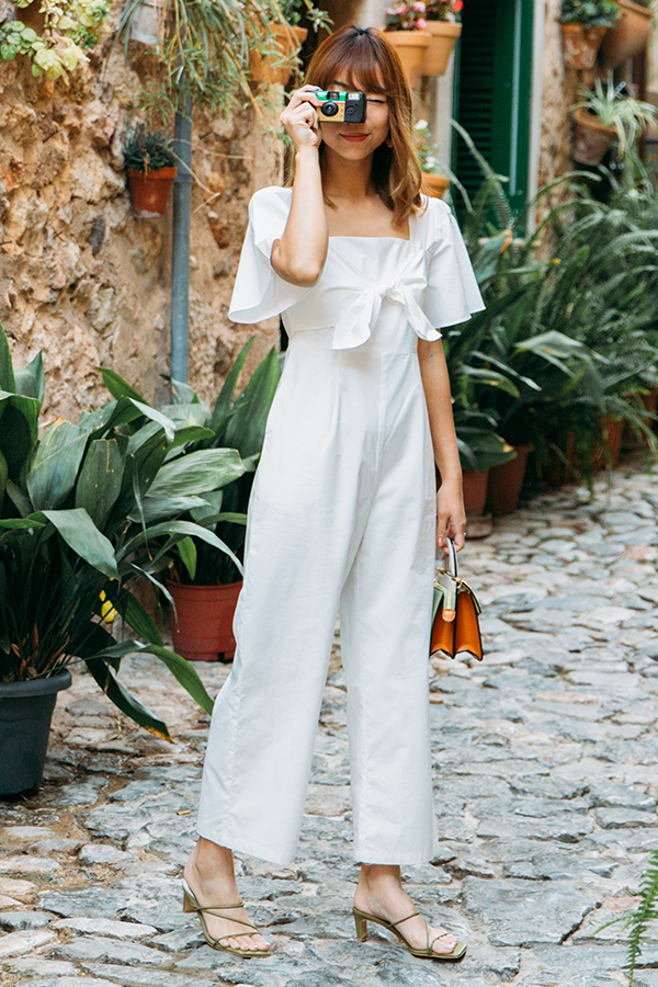 Marcela Knotted Bow Jumpsuit in White