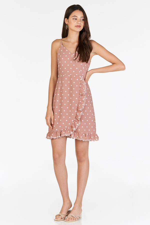 Jeana Dotted Dress in Pink