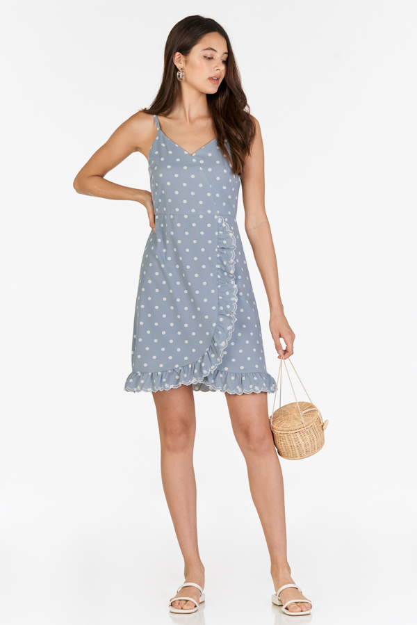 Jeana Dotted Dress in Dusty Blue