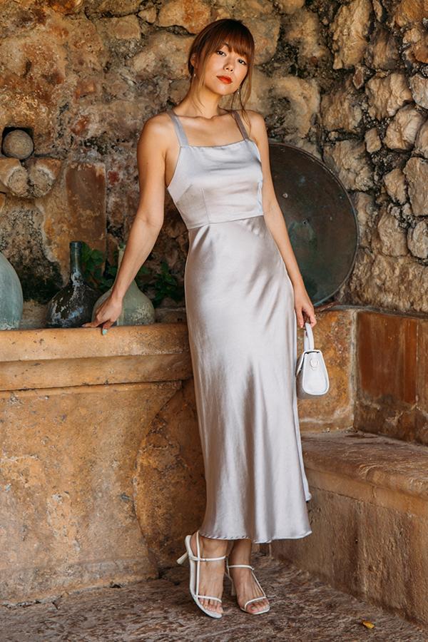 Lucia Satin Dress in Silver