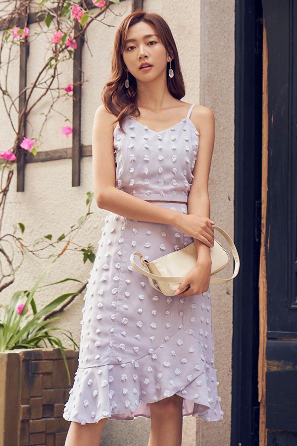 Madeleine Pom-Pom Midi Skirt in Lilac