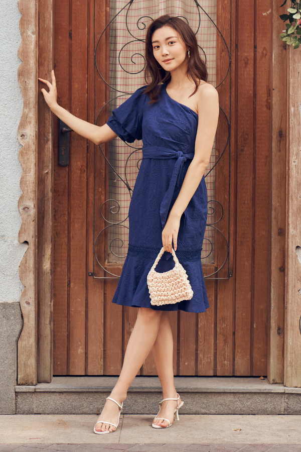 Sana Eyelet Toga Dress in Navy