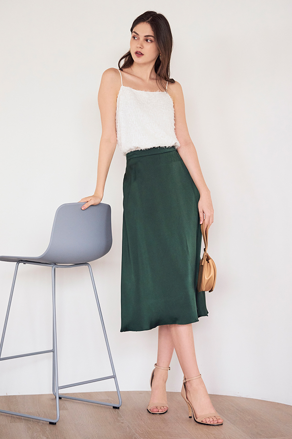 Caddie Satin Midi Skirt in Forest Green