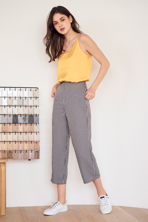 Kacia Gingham Pants in Black
