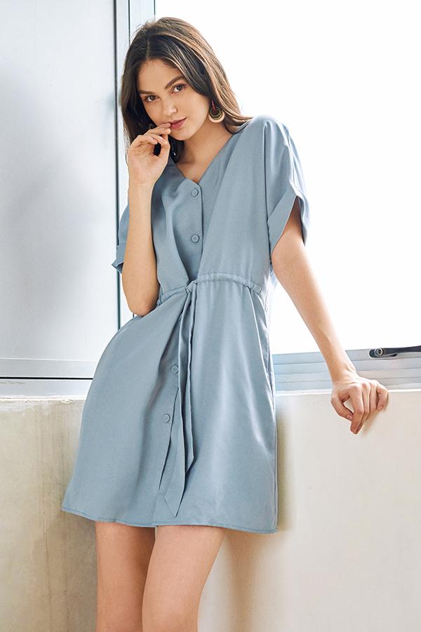 Agacia Dress in Dusty Blue
