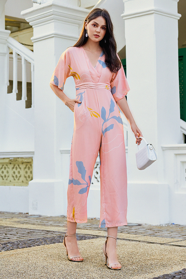 Olinda Foliage Printed Jumpsuit in Pink
