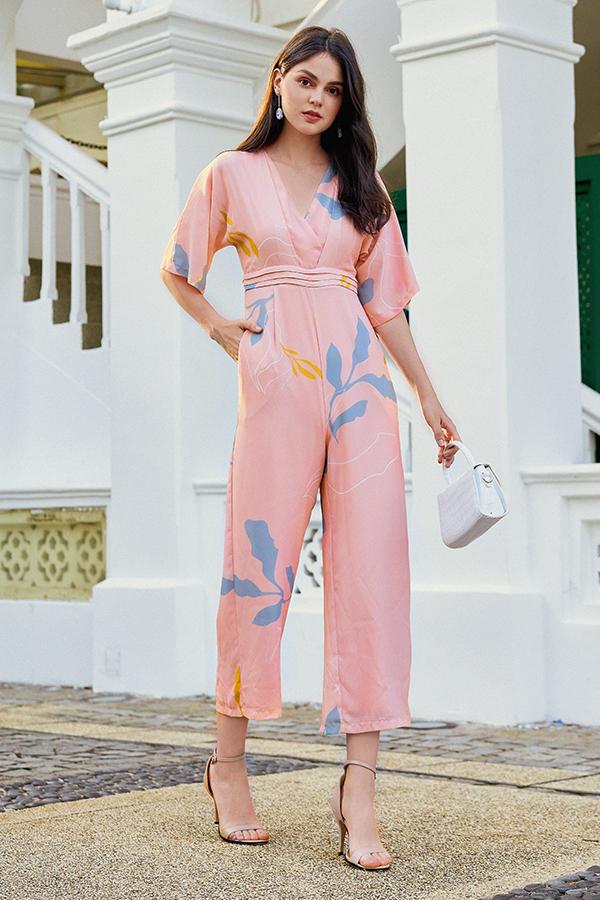Olinda Foliage Printed Jumpsuit in Pink