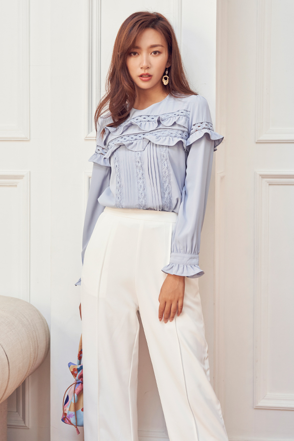 Soori Ruffled Blouse in Dusty Blue