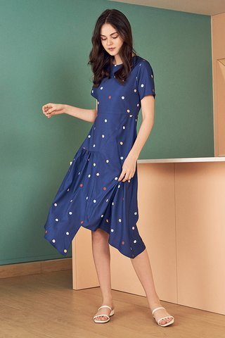 Arabella Polka Dotted Asymmetrical Midi Dress