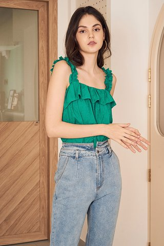 Emmalyn Eyelet Top in Emerald Green