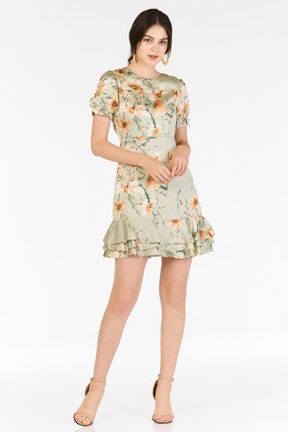 Bellarose Ruffled Dress in Green Lily