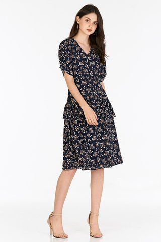 Sheya Ruffled Midi Dress in Navy