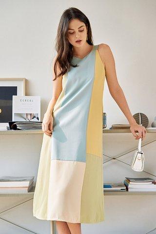 Aerith Colourblock Midi Dress in Blue