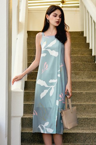 Olinda Foliage Printed Dress in Seafoam